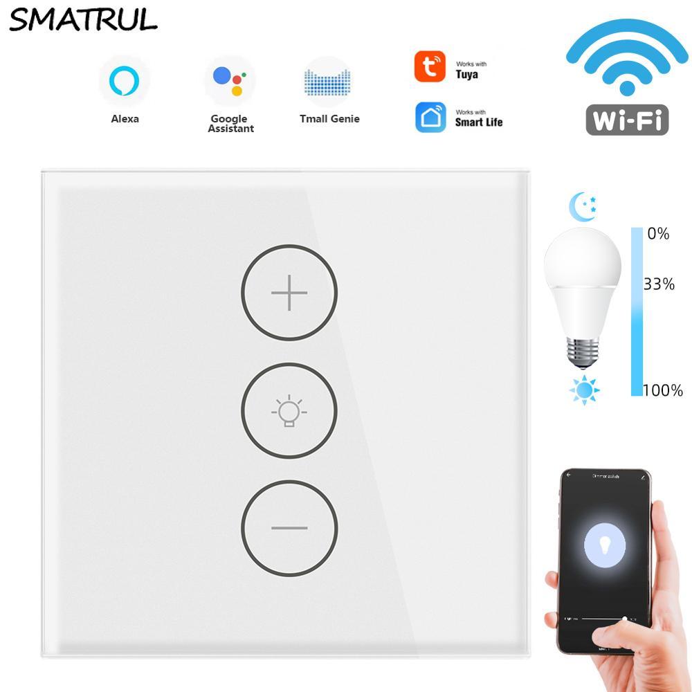 SMATRUL TUya Smart Life WiFi Touch Dimmer Switch Light APP EU Wireless Timer Remote Control With Alexa Google Home 220V 110V